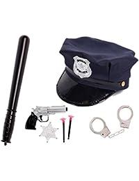 Déguisement policier pour enfant (KV-72): Kit de 7 accessoires: Casquette + Matraque + Paire de menottes avec 2 clés + Un pistolet révolver avec deux fléchettes à ventouse et une étoile SHERIFF