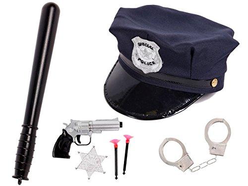 Preisvergleich Produktbild Alsino Kinder Polizei Set Verkleidung Cop Kids Polizeihut Schlagstock Pistole Handschellen KV-72