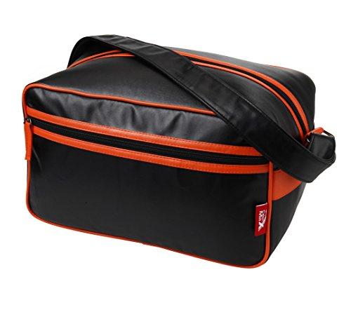 Cabin Max Arezzo, borsone da stipare 20x35x20cm, borsone a tracolla - ottimo come secondo bagaglio per Ryanair (nero/arancione)
