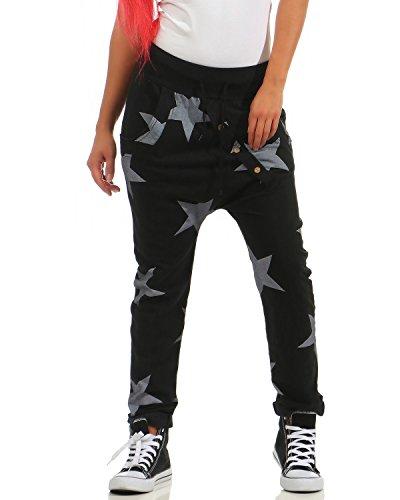 ZARMEXX Pantaloni sportivi da donna Boyfriend larghi con bottoni Pantaloni da jogging Pantaloni sportivi in cotone Yogapants Jogger Vestibilità ampia Big Star (Taglia unica, 40-44) Nero