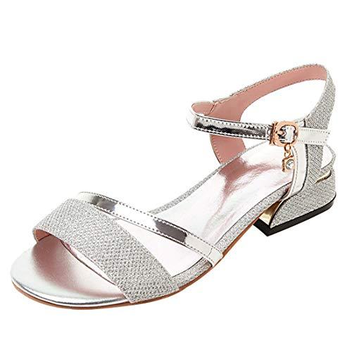 Artfaerie Damen Open Toe Riemchen Sandaletten mit Pailletten und Schnalle Blockabsatz Glitzer Pumps Bequem Schuhe Open Toe