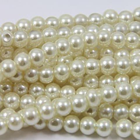 Beads4crafts avorio Glass Pearl Beads 4 mm, a doppio filo, perline BGP328 230) - Pearl Fili Craft Beads