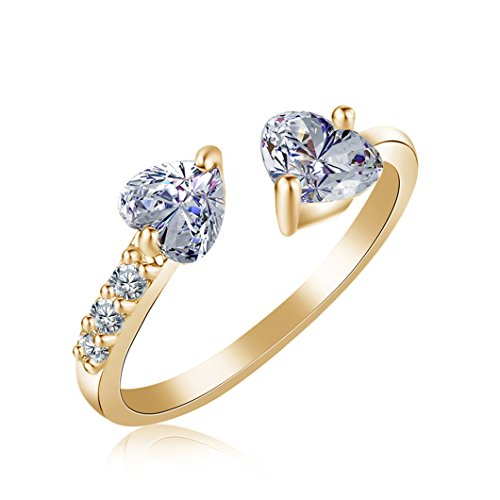 Gluckliy Elegant Open Ring Decorated with Crystal Double Heart for Women, Gold