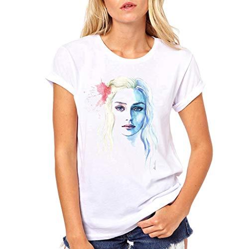 Fannyfuny T-Shirt Damen Kurzarm Tee Tops Frauen Rundhals Cartoon Mädchen Drucken Shortsleeve t-Shirt Blusen Casual Elegant Oberteil Mode Persönlichkeit T-Shirt Outdoor Slim Fit Fitness Tuniken S-XL