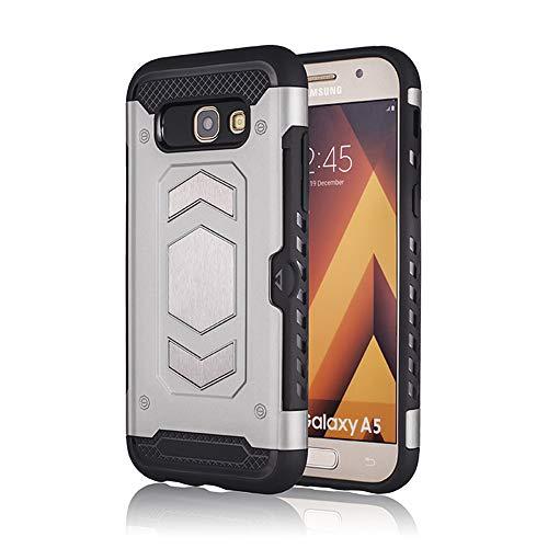 Kompatibel mit Hülle Samsuang Galaxy A5 2017 TPU PC Schutzhülle Case 360 Grad Bumper Silikon Ultradünn Roboter Handytasche Handyhülle für Galaxy A5 2017 Handyhülle (Galaxy A5-2017, Silber)