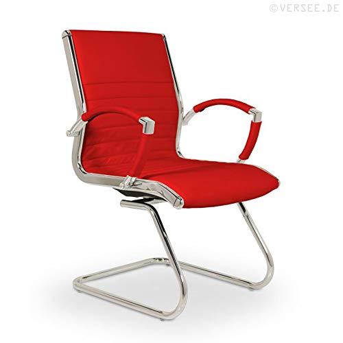 VERSEE Design Besucherstuhl Montreal - Echt-Leder - Rot