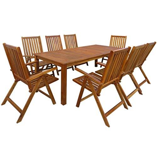 Festnight- Garten-Essgruppe 9-teilige Set | Gartengruppe aus Akazie Massivholz | Gartenmöbel Essgruppe 1 Tisch + 8 Klappstühle