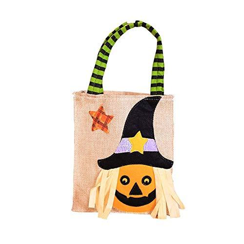 Halloween Candy Bag Vlies-Sticker Handtasche Trick-or-Treat Süßigkeitentüten Geschenktüten Dekoration, Orange