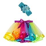 Mädchen Kinder Tutu Rock, zweiteiliges Set Party Tanz Ballett Kleinkind Baby Regenbogen Kostüm Rock + Stirnband Set Karneval Ostern (2Y-11Y)(Mehrfarbig,S)