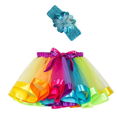 Mädchen Kinder Tutu Rock, zweiteiliges Set Party Tanz Ballett Kleinkind Baby Regenbogen Kostüm Rock + Stirnband Set Karneval Ostern (2Y-11Y)(Mehrfarbig,L)