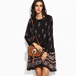 DAYSEVENTH 2017 Women Loose Dress Long Sleeve Boho Print Fashion Casual Dress
