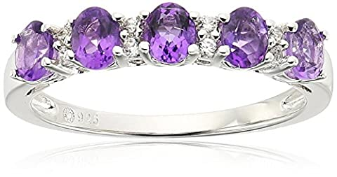 Sterling Silver African Amethyst and White Zirconia 5-stone Stackable Ring,