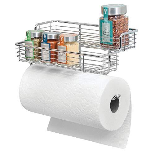 MetroDecor mDesign Küchenrollenhalter – hochwertiger Papierrollenhalter mit integriertem Gewürzregal aus Metall – praktischer Küchenhelfer – silberfarben