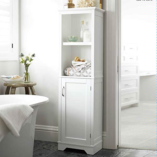 Bakaji mobile armadietto scaffale a colonna da bagno 4 ripiani con anta in legno mdf dimensione 155 x 45,5 x 30 cm (bianco)