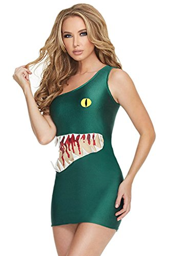 Fortuning's JDS Monster Drucken Eine Schulter Körperbetontes Kleid Halloween-Kostüm