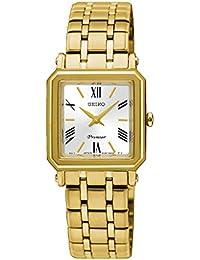 Seiko–Reloj de pulsera analógico para mujer cuarzo One Size, color blanco, Oro