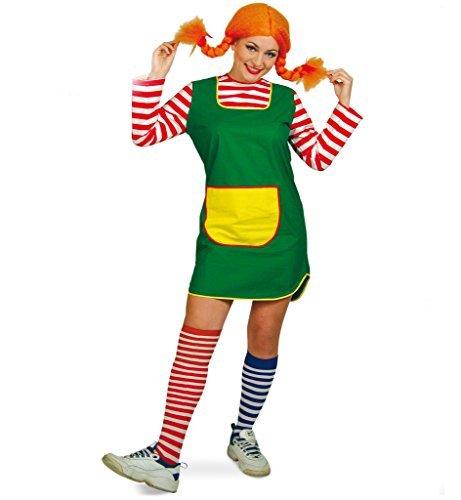nkleid Karlinchen kurz grün mit rot-weiß geringelten Ärmeln gelbe Tasche Göre freches Mädchen (38) (Erwachsene Damen Kostüme Strümpfe)