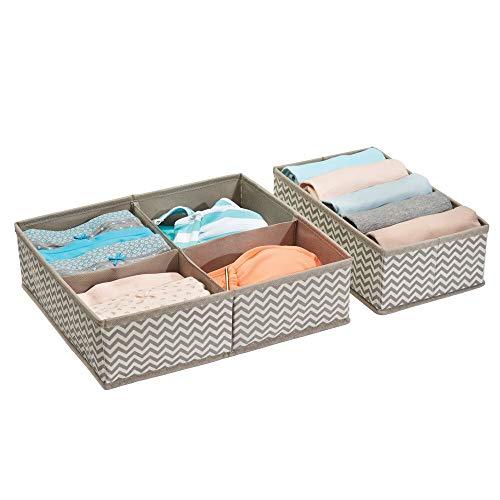 mDesign Set da 2 scatole portaoggetti universali ? Scatole per armadio versatili con 5 scomparti in tutto ? Organizer in tessuto di polipropilene traspirante ? Talpa/neutro