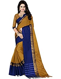 Calendar Catalog 2018 Latest New Collection Party Wear Cotton Silk Sarees For Women Latest Design (Blue&Yellow...