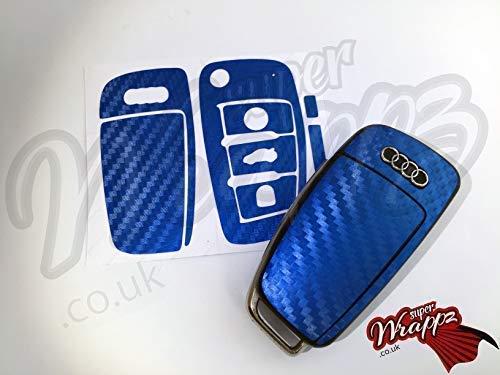 Blu Fibra di Carbonio Chiave Telo Copertura Adesivo Superwrappz Copertura per Audi Telecomando A1, A2, A3, A4, A5, A6, A7, A8, Tt, Q2, Q3, Q5, Q7, Rs, S-LINE, Quattro