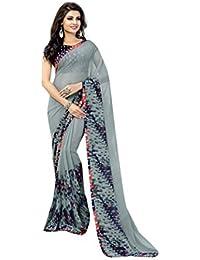 Shaily Retails Women's Georgette Saree With Blouse Piece (Naari2002Sssr001_Grey)
