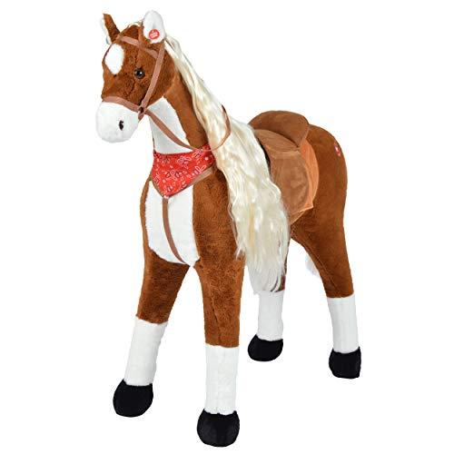 r Soft Plüsch-Pferd - ELSA 105cm riesiges Reitpferd für Kinder, Stehpferd zum Drauf sitzen mit Kleiner Bürste, bis 100kg Tragkraft, Farbe: braun/Blonde Mähne ()