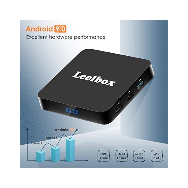 Android 9.0 TV Box - Leelbox Smart TV Box Q4 Plus 4 GB RAM & 64 GB ROM, Quad Core 64 bit Android Box Wi-Fi integrato/BT 4.1/ Box TV UHD 4K TV/USB 3.0 Media Player, Android Set-top-Box
