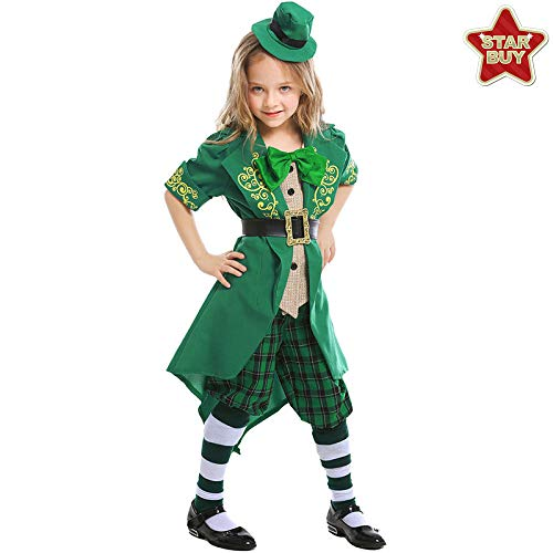 COSOER Alice Series Girl Elf Kostüm Irish Leprechaun Kleidung Halloween St. Patrick's Day Kinderkleidung,Girl/Green-XL
