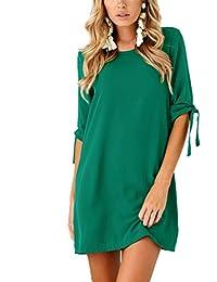 c516cbb49fb8a BienBien Donna Vestito Da Giorno Eleganti Estivi Corti Abito Manica 3 4  Camicia Vestiti Sottile Rotondo Collo Colori…