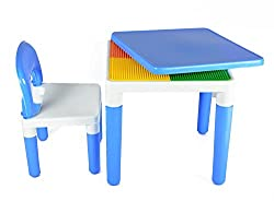 WonderKart 2 in 1 Building Blocks cum Study or Play Table with 2 Chairs (Blue)