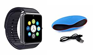 MIRZA Bluetooth GT08 Smart Wrist Watch & Bluetooth Speaker for SAMSUNG GALAXY J1(Rugby Bluetooth Speaker & GT08 Smart Watch Watch Phone with Camera & SIM Card Support Hot Fashion New Arrival Best Selling Premium Quality Lowest Price with Apps like Rugby,Whatsapp, Twitter, Sports, Health, Pedometer, Sedentary Remind,Compatible with Android iOS Mobile Tablet-Assorted Color)