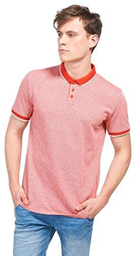TOM TAILOR Denim Herren Poloshirt 2tone Piquee Polo molten lava red