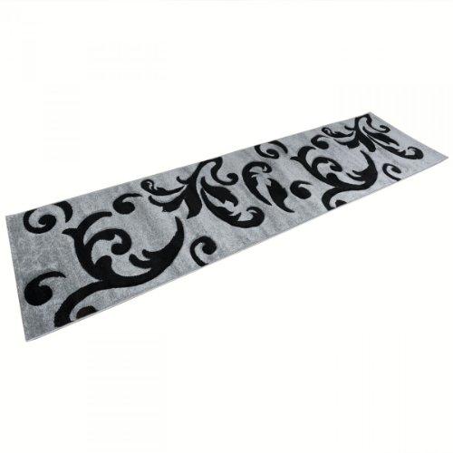 Teppich Läufer Sam Ranken grau in 80 x 300 cm