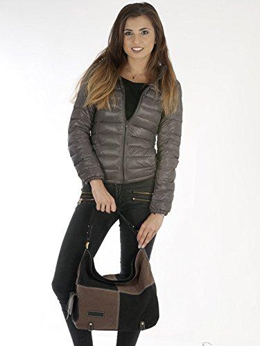 Sunsa Damen Canvas Schultertasche Handtasche Tasche 32,5x26x5 cm (beige braun) braun schwarz