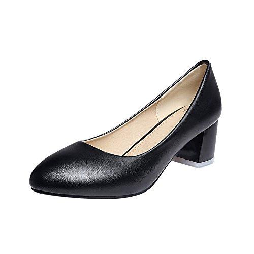Mee Shoes Damen bequem runder toe chunky heels Geschlossen Pumps Schwarz