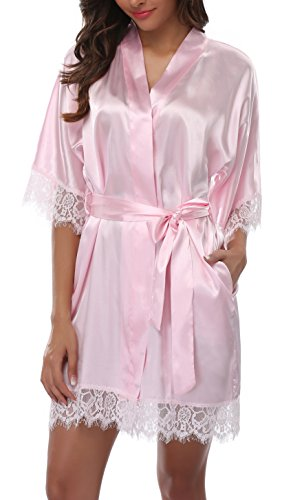 Old-Times Damen Bademantel aus Satin, Kurze Spitze, Seide, Brautjungfern - Pink - X-Large Trim Dressing Gown