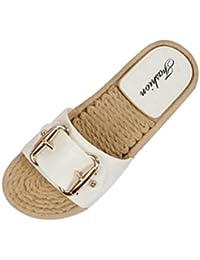 Longra Donne Bow sandali Slipsole (EU Size:39, Nero)