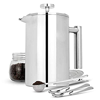 French Press Cafetiere | Stainless Steel Coffee Press Maker | FREE Extra Filters / Measuring spoons / Bag Clip | Double Walled Insulation | 7pc Coffee Gift Set | M&W (1500ml) by Xbite