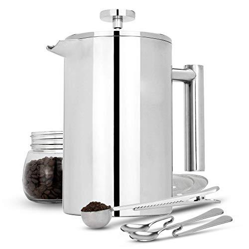 French White-tee (Maison & White Französisch Presse Cafetiere | Edelstahl Kaffeepresse Maker | KOSTENLOSE Extra Filter / Messlöffel / Beutelklammer | Doppelwandige Isolierung | 7er Kaffee Geschenkset 1500ml)