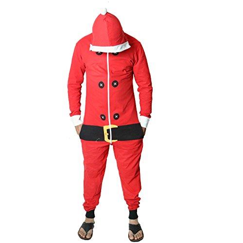 Elf Santa All in One Weihnachten Onesie Kostüm Overall Größen Klein bis 4XL (Mittel, Leichte Santa Onesie) ()