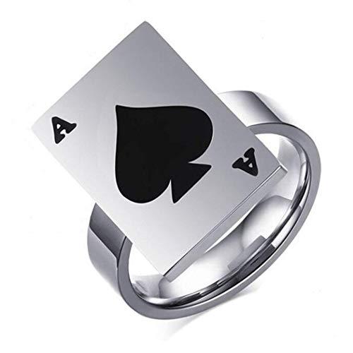 XBMEN Schmuck Herren Titanium Stahl Spielkarten A Karte Ringe