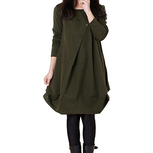 (OverDose Damen Casual übergroße Langarm Lose Kleid Jumper Dress Party Kleider Bluse Tops Blusenkleid(A-Green ,EU-42/CN-XXL))