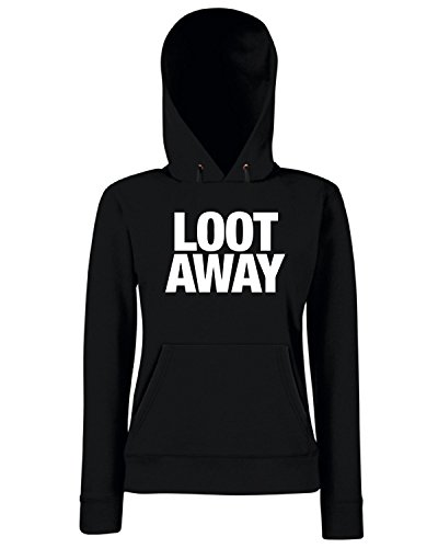 T-Shirtshock - Sweats a capuche Femme WC0471 LOOT AWAY Noir