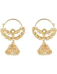 SKN 22kt Gold Plated Copper Metal Daily Wear Ear Bali Jhumki Earrings For Women & Girls (SKN-1613)
