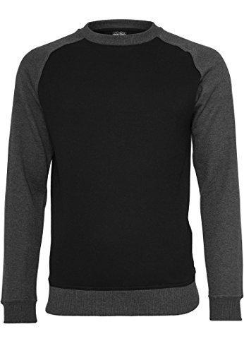 URBAN CLASSICS Herren 2-tone Raglan Crewneck TB546 black/charcoal L (Langarm-shirt Boys Black)