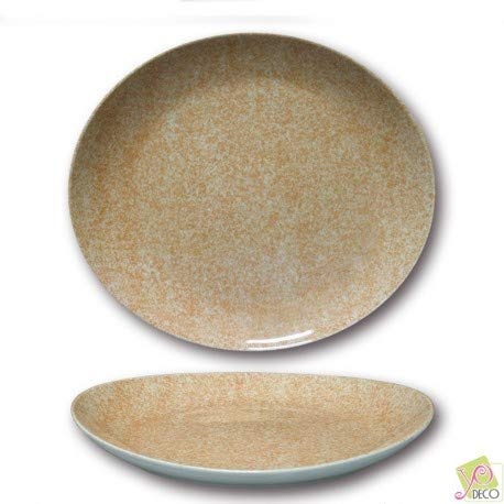Lot de 6 assiettes à steak - D 30,5 cm - Moucheté beige