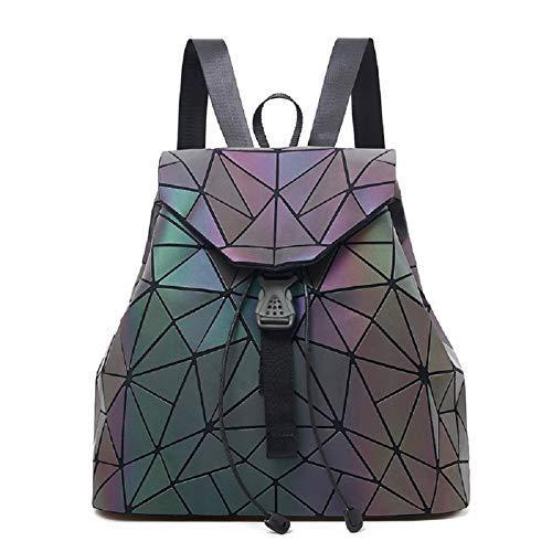 Chenrry Geometrischer Rucksack Geometrisch Holographic Taschen Damen Leuchtend Rucksäcke Reflektierend Festival Tasche NO.2