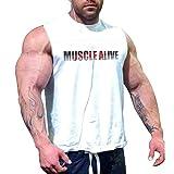Uomo Atletico Magliette Tees Corto Manica Muscolo Taglio per Bodybuilding Allenarsi Formazione Fitness Top Equipaggio Collo Cotone