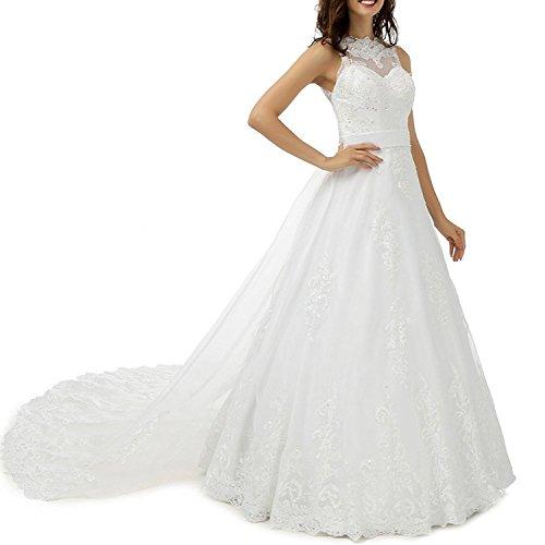 Tianshikeer Brautkleid Spitze Tüll Glitzer Lang Hochzeitskleid Elegant Brautkleider