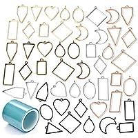 Popuppe 50 pezzi di charms con cornice aperta charms ciondoli geometrici vassoi vuoti forma assortita con pendenti…
